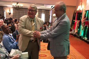Presentation for long service to CLA to Dr Peter Slinn by CLA Hon Treasurer, Laurie Watt